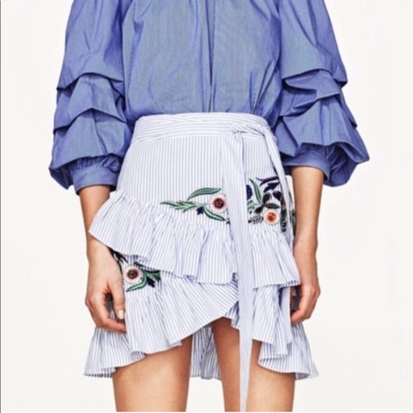 Zara Dresses & Skirts - Zara Stripe Embroidered Skirt